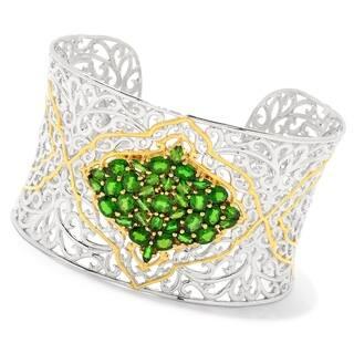 Michael Valitutti Palladium Silver Chrome Diopside Cluster Cuff Bracelet - Green|https://ak1.ostkcdn.com/images/products/17127977/P23395197.jpg?impolicy=medium
