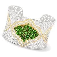Michael Valitutti Palladium Silver Chrome Diopside Cluster Cuff Bracelet - Green