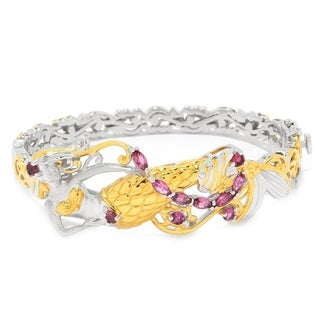 Michael Valitutti Palladium Silver Pink Tourmaline Mermaid Hinged Bangle Bracelet