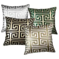 Greek Key 24-inch Metallic Throw Pillow