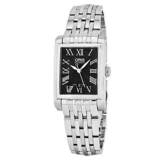 Oris Women's 561 7656 4074 MB 'Rectangular' Black Dial Stainless Steel Swiss Automatic Watch
