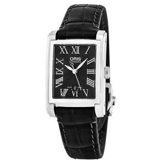 Oris Women's 561 7656 4074 LS 'Rectangular' Black Dial Black Leather Strap Swiss Automatic Watch