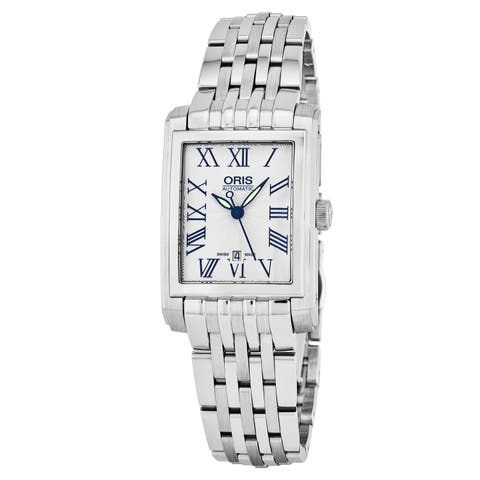 Oris Women's 561 7656 4071 MB 'Rectangular' Silver Dial Stainless Steel Swiss Automatic Watch