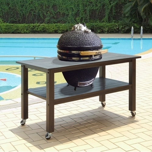 Duluth Forge Table For Large Ceramic Charcoal Kamado Grill And Smoker    Antique Grey
