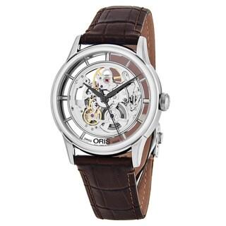 Oris Men's 'Artelier' Skeleton Dial Brown Leather Strap Swiss Automatic Watch