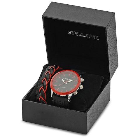 Steeltime Men's Alloy Face Watch and Bracelet Set - Two-Tone