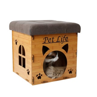Pet Life Foldaway Collapsible Designer Cat House Furniture Bench (Option: Light Wood - Canvas)