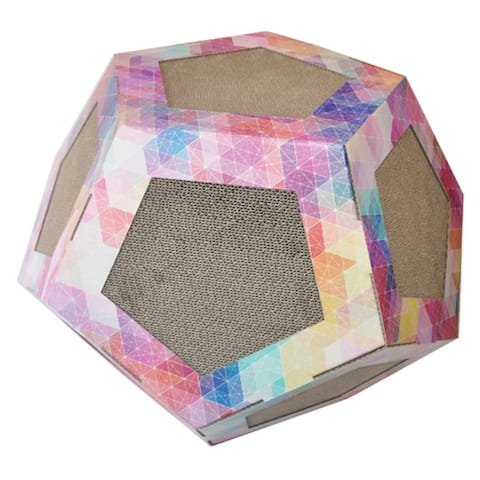 Pet Life Octagon Ultra Premium Collapsible Puzzle Pet Cat Scratcher Toy And House - pink pattern