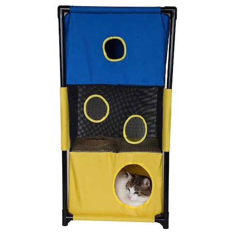 Pet Life Kitty-Square Obstacle Soft Folding Sturdy Play-Active Travel Collapsible Travel Pet Cat House Furniture