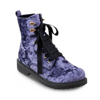 Olivia Miller 'Rockville' Ribbon Laced Velvet Work Boots|https://ak1.ostkcdn.com/images/products/17129026/P23396113.jpg?impolicy=medium