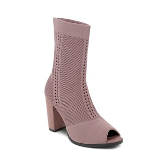 Olivia Miller 'Franklin' Perforated Chunky Heel Peep Toe Fabric Booties (More options available)