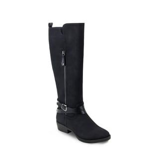 Olivia Miller 'Hicksville' Outside Zip Buckle Black Riding Boots
