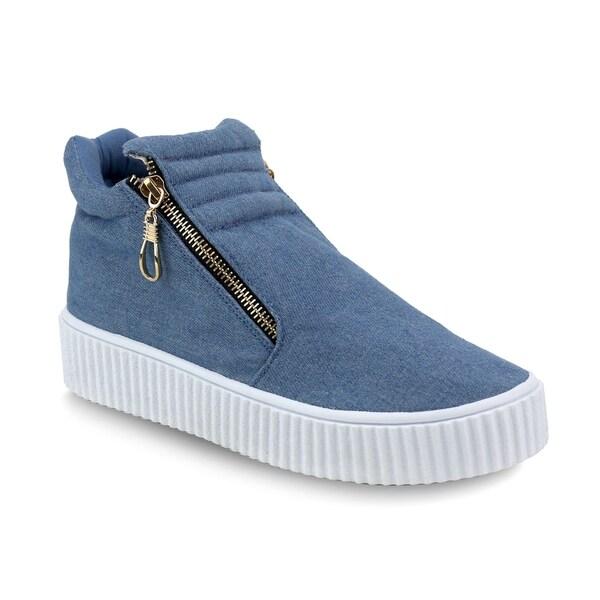 0e41b506d62b Olivia Miller   x27 Islip  x27  Side Zip Front Trapunto Denim Sneakers
