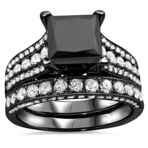 18k Black Gold 4 1/2ct Princess-cut Black and White Diamond Bridal Ring Set