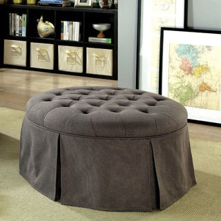Furniture Of America Berla Transitional Tufted Upholstered Round Ottoman