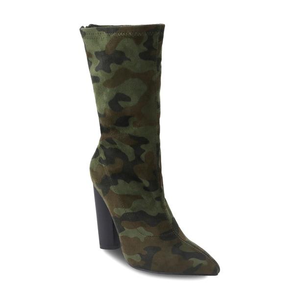 eda4ddac235 Shop Olivia Miller 'Hollis' Camo printed Heel Ankle Booties - On ...