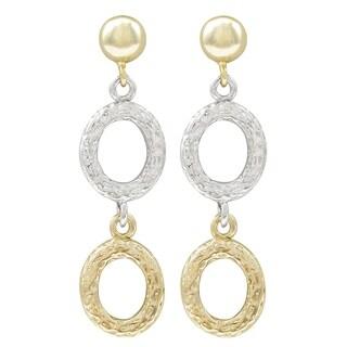Luxiro Textured Two-tone Dangle Earring