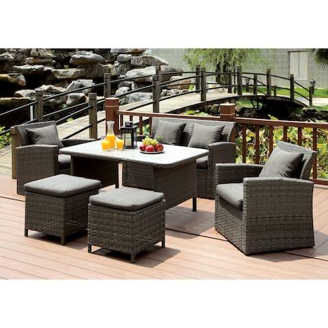 Furniture of America Saralin Contemporary 6-piece Wicker-like Grey Sofa Set