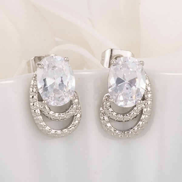 9e342fc93 Shop Antique Oval Clear CZ Earrings - Free Shipping On Orders Over $45 -  Overstock.com - 17129470