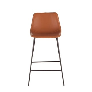 Tan Faux Leather Counter-Height Stool by World Interiors