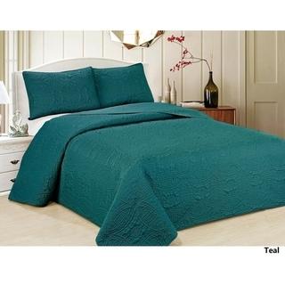 Verno Oversized Geometric Microfiber 3-Piece Bedspread Set-New Colors