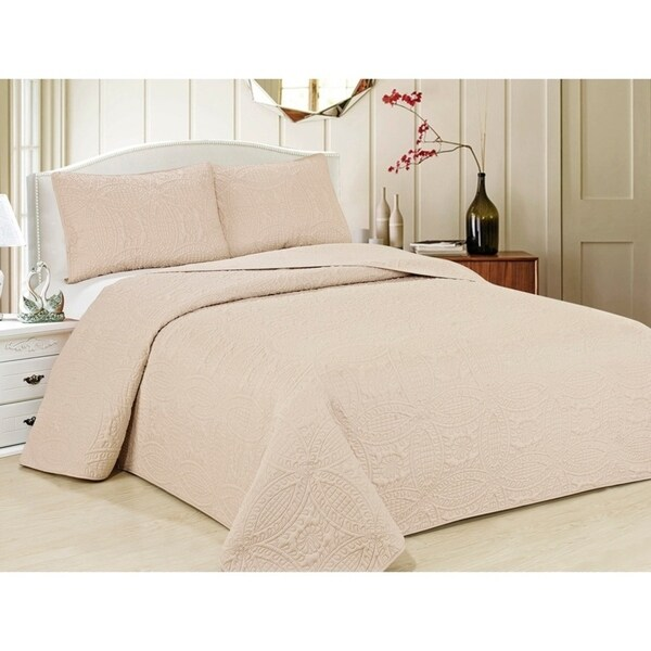 Shades of Purple Oversized Microfiber Coverlet Quilt Set with Pillow Shams