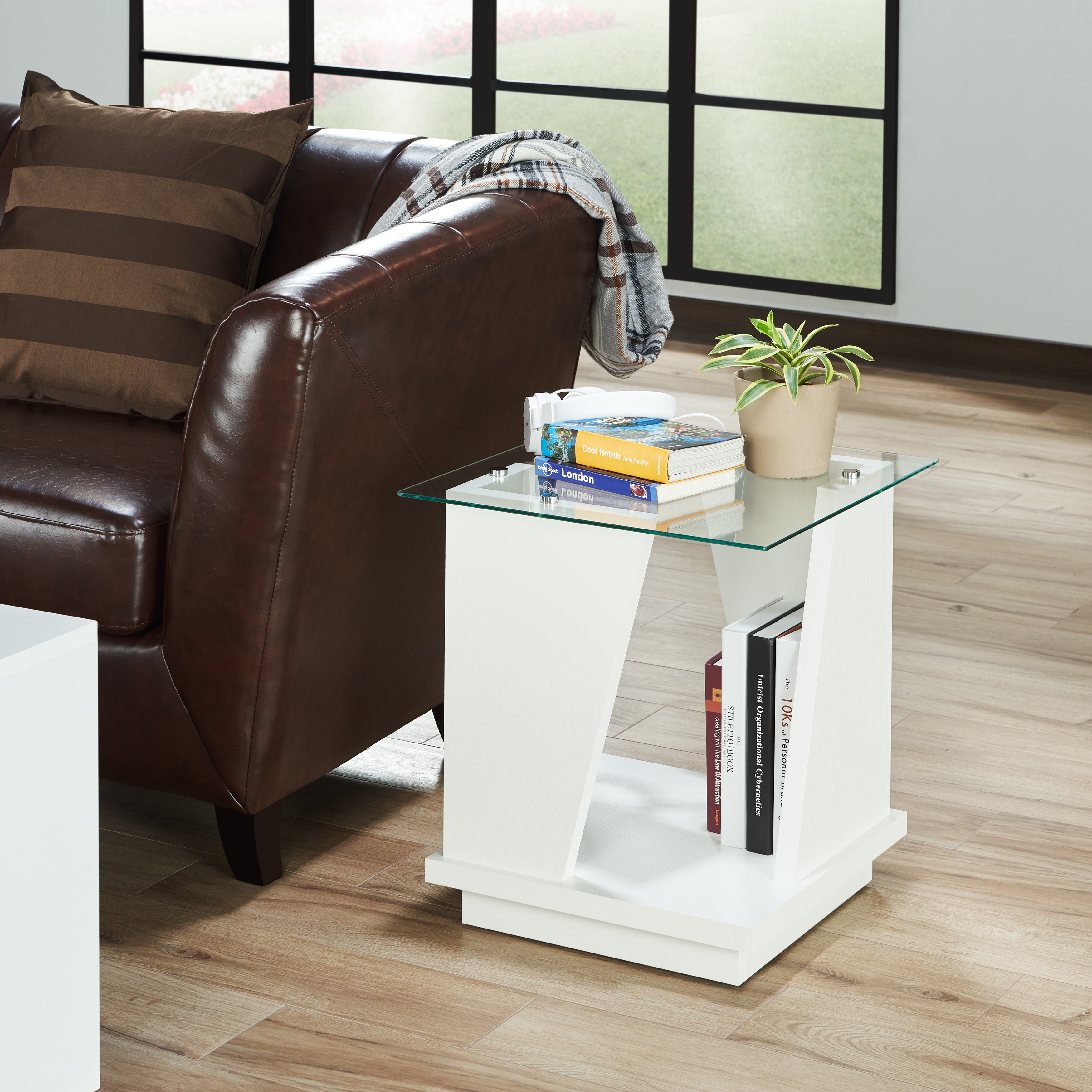 Furniture Of America Selema Glass Top End Table Ebay # Muebles Pestana