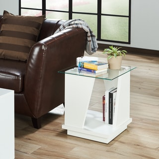 Furniture of America Selema Glass Top End Table