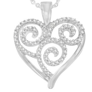 Sterling Silver 0.3 ct. TDW Round Cut Diamond Swirl and Heart Accent Pendant Necklace (H-I, I1-I2) - White