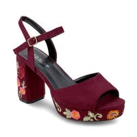 Olivia Miller 'Astoria' Floral Embroidered Peep Toe Buckle Chunky Heel Sandals
