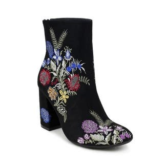 Olivia Miller 'Springfield' Floral Embroidered Chunky Heel Ankle Booties|https://ak1.ostkcdn.com/images/products/17130232/P23397164.jpg?impolicy=medium