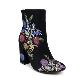 Olivia Miller 'Springfield' Floral Embroidered Chunky Heel Ankle Booties