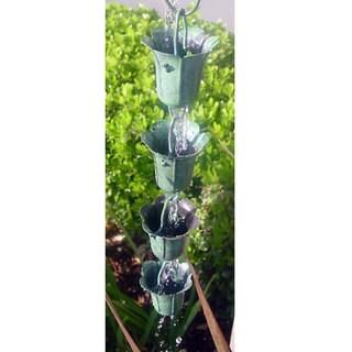 Monarch Pure Copper Tulip Green Patina Rain Chain 8.5-Foot Inclusive of Installation Hanger