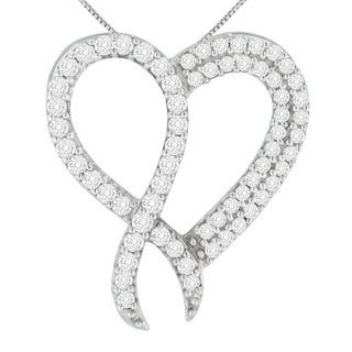 Sterling Silver 1ct TDW Round Cut Diamond Heart Pendant (H-I,I1-I2) - White