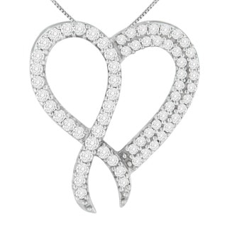 Sterling Silver 1ct TDW Round Cut Diamond Heart Pendant (H-I,I1-I2)