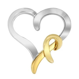 Sterling Silver and 14k Yellow Gold Two-Tone Heart Shaped Pendant Necklace