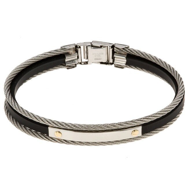 14k Gold and Steel Black Rubber Bracelet