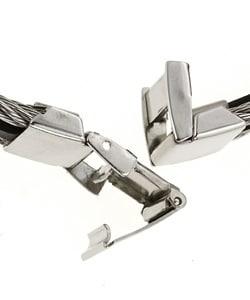 14k Gold and Steel Black Rubber Bracelet - Thumbnail 1