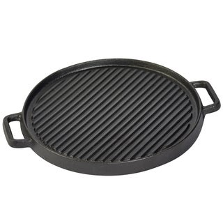 "12"" Round reversible grill/griddle with two side handles"