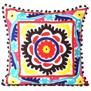 "Black & White Cotton Embroidered Decorative Pillowcase Throw Pillow Cushion Cover Square 16"""