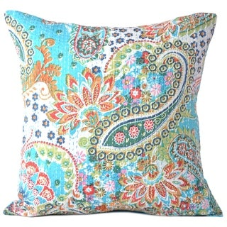 Cotton Throw Pillow Cases Decorative Cushion Cover 16 X 16 Inch (Light Blue)