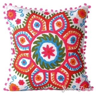 """Cotton Embroidered Decorative Pillowcase Throw Pillow Cushion Cover Square 16"""""""