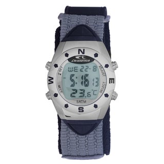 Chronotech Men's Quartz Digital Grey Canvas Strap Watch