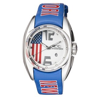 Chronotech Men's Multicolored Stainless Steel Amarican Flag New York Quartz Watch