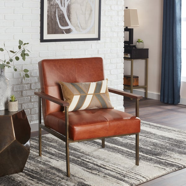 Jasper Laine Retro Steel Tan Leather Armchair