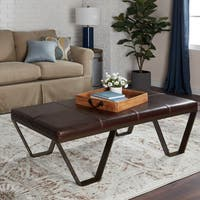 Stones & Stripes Antique Steel Vintage Tobacco Leather Coffee Table