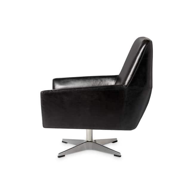 Pleasant Shop Carson Carrington Lisbon Off Black Leather Swivel Chair Machost Co Dining Chair Design Ideas Machostcouk