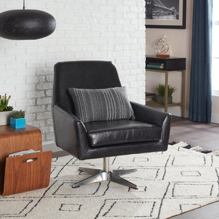 Palm Canyon Lisbon Off Black Leather Swivel Chair