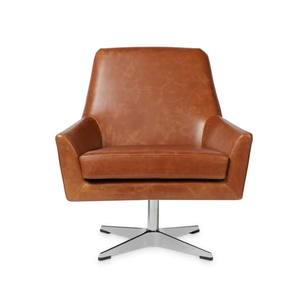 Fabulous Shop Carson Carrington Lisbon Saddle Leather Swivel Chair Caraccident5 Cool Chair Designs And Ideas Caraccident5Info