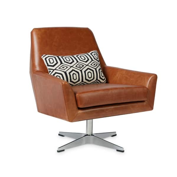Super Shop Carson Carrington Lisbon Saddle Leather Swivel Chair Caraccident5 Cool Chair Designs And Ideas Caraccident5Info